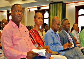 Acting Health Minister Donville Inniss (left) at the 6th Annual Cancer Support Services' Conference over the weekend.