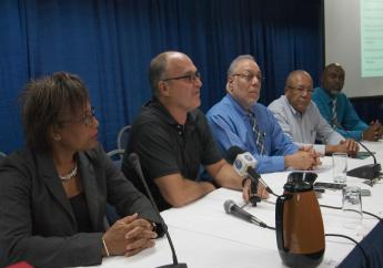 (L-R) Chief Executive Officer of the Barbados Private Sector Association (BPSA), Anne Reid; BPSA Chairman, Charles Herbert; President of the Barbados Chamber of Commerce & Industry, Eddy Abed; Former Executive Director of the Barbados Employers Confederation, Tony Walcott; Chief Executive Officer of the Barbados Hotel and Tourism Association (BHTA), Rudy Grant.