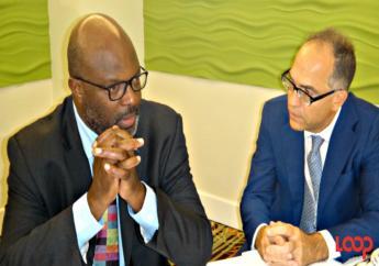 Attorney General of Barbados, Adriel Brathwaite (left), and UN Resident Coordinator and UNDP Resident Representative, Stephen O'Malley.