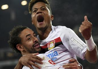 Leverkusen's Leon Bailey. top, celebrating a goal with teammate Karim Bellarabi during the German Bundesliga football match between Hannover 96 and Bayer Leverkusen in Hannover, Germany, on Sunday, December 17, 2017. (PHOTOS: AP)