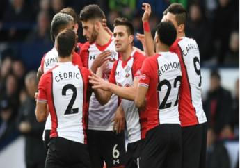 Southampton celebrate Dusan Tadic's winner at West Brom.