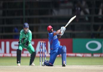 Afghanistan's Mohammad Shahzad hits out against Ireland.