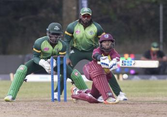 Cricket West Indies B Team's Nicholas Pooran bats against the Vancouver Knights in the first half of their final of the Global T-20 Canada Cricket tournament in King City, Ontario on Sunday July 15, 2018. (Fred Thornhill/The Canadian Press via AP)