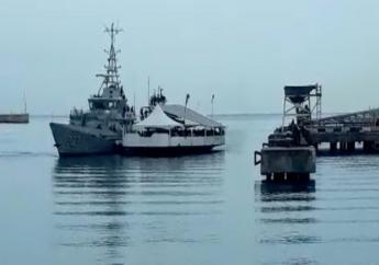 The Barbados Coast Guard alongside the MV Dream Chaser. (social media image)
