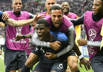 France's Paul Pogba celebrates after scoring his side's third goal during the final match against Croatia at the 2018 football World Cup in the Luzhniki Stadium in Moscow, Russia, Sunday, July 15, 2018. (AP Photo/Martin Meissner).