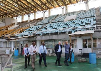 Prime Minister Allen Chastanet touring the St Jude stadium site last July