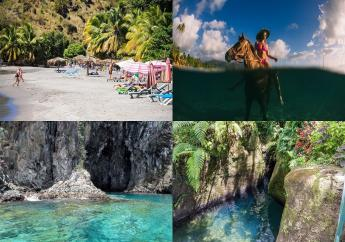 (Images: Dominica Tourist Board: Clockwise from top left Mero Beach, horse-riding, Titou Gorge, snorkelling at Toucarie)