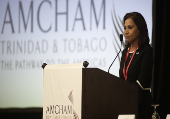AMCHAM T&T President Patricia Ghany speaks at the chamber's Annual Post Budget Forum on October 3, 2018. Photo via Facebook, The American Chamber of Commerce Trinidad and Tobago.