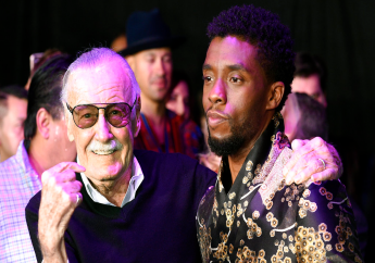 "In this Monday, Jan. 29, 2018 file photo, comic book legend Stan Lee, left, creator of the ""Black Panther"" superhero, poses with Chadwick Boseman, star of the new ""Black Panther"" film, at the premiere at The Dolby Theatre in Los Angeles. (Photo by Chris Pizzello/Invision/AP, File)"