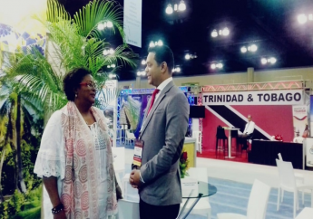 Tourism Minister Randall Mitchell (right), Barbados Prime Minister Mia Mottley (left)