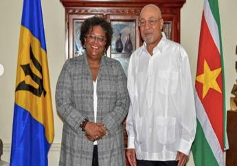 Prime Minister Mia Mottley meets  President of Suriname, Desiré Bouterse in Suriname.