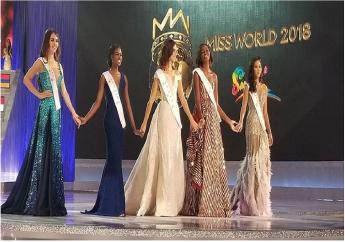 From left: Miss Belarus Maria Vasilech, Miss Jamaica Kadijah Robinson, Miss Mexico Photo caption : From left Vanessa Ponce de Leon, Miss Uganda Quiin Abenakyo and Miss Thailand Nicolene Pichapa Limsnukan