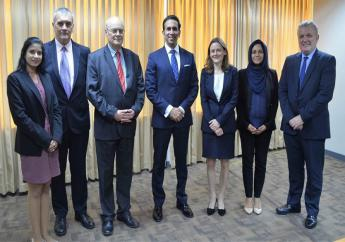 From (L-R): Vyana Sharma, Senior Legal Counsel, Ministry of the AG & Legal Affairs; Ian Richardson, Criminal Justice Advisor; Sir John Saunders, Judicial Commissioner & Member of the Sentencing Council for England and Wales; Faris Al-Rawi, AG & Minister of Legal Affairs; Naomi Parsons, Criminal Barrister; Farzana Nazir-Mohammed, Senior Legal Counsel, Ministry of the AG and Legal Affairs & Joe Connell, Senior Adviser, Counter-terrorism Investigations, International Institute of Justice & Rule of Law.