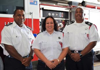 Cayman's newest Deputy Chief Fire Officers, Roy Charlton, Brevon Elliot and Tina Choy