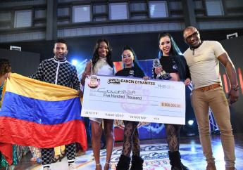 – Roxanne Brown (2nd left) Brand Manager, Charles Chocolates and Alberto Cossio (right) Regional Entertainment Manager, Decameron Jamaica, join the Colombian Xtreme Dancers for a presentation after the team pulled out a showstopping performance to win the international finale of the Charles Chocolates Dancin' Dynamites competition. The Colombian dancers aced teams from Jamaica, Cuba and St. Lucia.