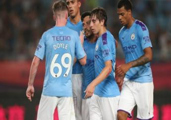 David Silva celebrates scoring against West Ham.