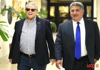 Prominent businessman Gassan Azan (right) and hotel mogul Gordon 'Butch' Stewart ahead of Azan's project launch. (Photo: Marlon Reid)