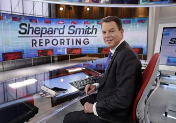 """In this January 30, 2017, file photo, Fox News Channel chief news anchor Shepard Smith appears on the set of """"Shepard Smith Reporting"""" in New York. Smith, whose newscast on Fox News Channel seemed increasingly an outlier on a network dominated by supporters of President Trump, says he is leaving the network. He has worked at Fox News Channel since the network started in 1996. (AP Photo/Richard Drew, File)"""