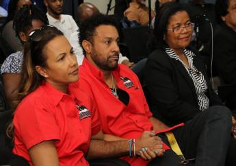 Shaggy with his wife, Rebecca Burrell, at the press conference at Bustamante Hospital for Children.