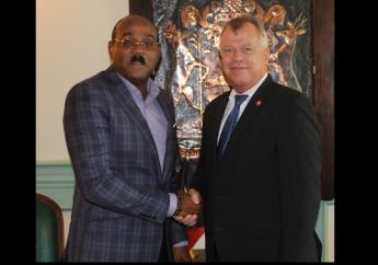 Antigua and Barbuda Prime Minister Gaston Browne (left) and Urs Schnider, Switzerland's Ambassador to Antigua and Barbuda (right).