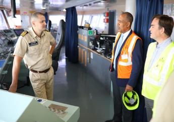 Thomas Vernier (right) Deputy CEO of Kingston Freeport Terminal Limited (KFTL) and Professor Gordon Shirley, President of Port Authority of Jamaica (PAJ) talk with Captain Kirill Vereschchak of the Seatrade Blue during a recent visit. The Seatrade Blue is one of the vessels on the 'Round the World' Panama Direct Line, one of the new services to the Port of Kingston.