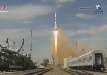 In this grab taken from video footage released by Roscosmos Space Agency, the Soyuz-2.1a rocket booster with Soyuz MS-16 space ship carrying a new crew to the International Space Station, ISS, blasts off at the Russian leased Baikonur cosmodrome, Kazakhstan, Thursday, April 9, 2020. The Russian rocket carries U.S. astronaut Chris Cassidy, Russian cosmonauts Anatoly Ivanishin and Ivan Vagner. (Roscosmos Space Agency via AP)