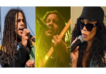 """Skip Marley performs at Coachella Music & Arts Festival in Indio, Calif. on April 13, 2018, from left, Stephen Marley performs during the """"Catch A Fire Tour 2015"""" stop in Huntington, N.Y. on Sept. 1, 2015 and Cedella Marley speaks at the Marley Brunch with Marley Family Members in West Hollywood, Calif. on Jan. 24, 2020. The family of reggae legend Bob Marley are covering his song """"One Love"""" to raise money for coronavirus relief efforts. (AP Photo)"""
