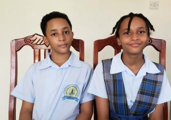 Twins Dominique George (left) and Ava George
