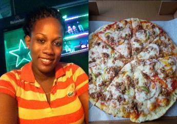 Chervon Louis alongside one of her delectable pizzas