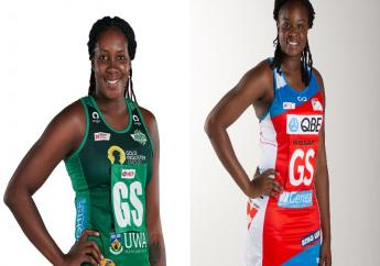 Jhaniele Fowler (left) of the West Coast Fever and Samantha Wallace (right) of the NSW Swifts will face off in the semi-finals of the Suncorp Netball Super League next weekend. (Photos courtesy the Suncorp Netball Super League)