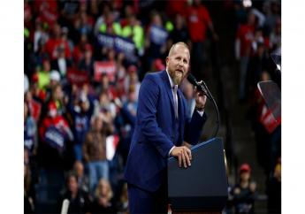 In this October 10, 2019, file photo, Brad Parscale, then-campaign manager for President Donald Trump, speaks during a campaign rally at the Target Center in Minneapolis. (AP Photo/Evan Vucci, File