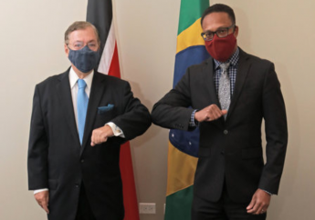 Photo: Ambassador of the Federative Republic of Brazil, José Antonio Piras pays Courtesy Call on Minister of Foreign and CARICOM Affairs Dr Amery Browne. Credit: Ministry of Foreign and CARICOM Affairs.