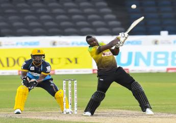 Andre Russell in action for the Jamaica Tallawahs franchise in the 2020 Caribbean Premier League in Trinidad and Tobago.
