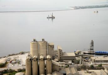 An aerial view of the Caribbean Cement Company plant in Kingston.