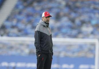 Liverpool's manager Jurgen Klopp waits for the start of the English Premier League football match between Brighton and Hove Albion and Liverpool at the Amex stadium in Brighton, England, Saturday, November 28, 2020. (AP Photo/Kirsty Wiglesworth, Pool)