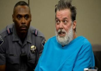 In this December 9, 2015, file photo, Robert Dear talks to Judge Gilbert Martinez during a court appearance in Colorado Springs, Colo. (Andy Cross/The Denver Post via AP, Pool, File)