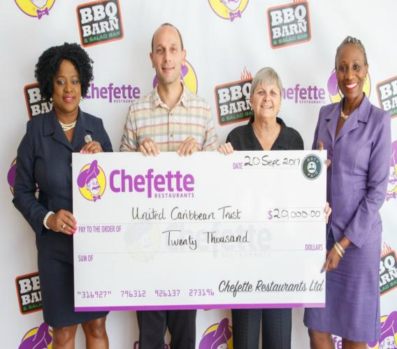 (l-r) Lisa Carter, Chefette Advertising Manager; Chefette Managing Director, Ryan Haloute; Jenny Tryhane, Founder of United Caribbean Trust and Marketing Officer, Marquest Clarke-Griffith.
