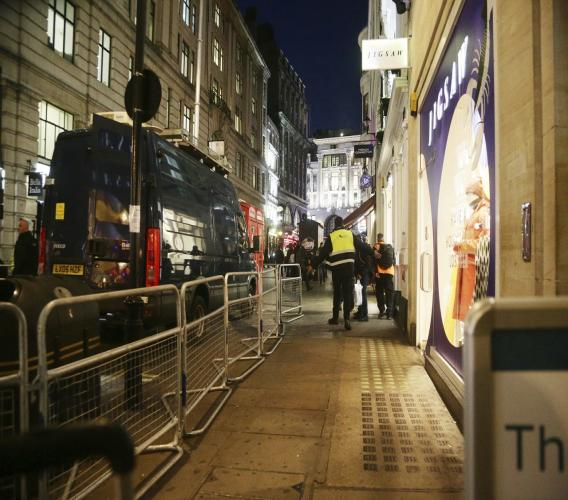 The scene outside the London Palladium in the west end of London after Oxford Circus station was evacuated Friday Nov. 24, 2017. British police said Friday they were responding to reports of an incident at Oxford Circus subway station, one of London's busiest.
