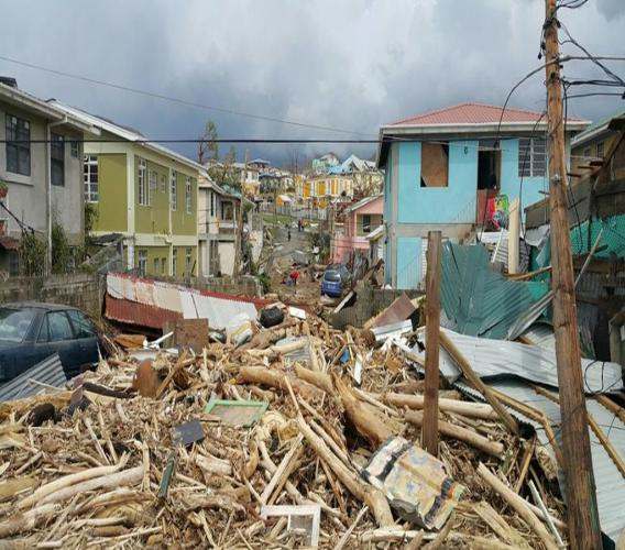 Damage in Dominica after Hurricane Maria