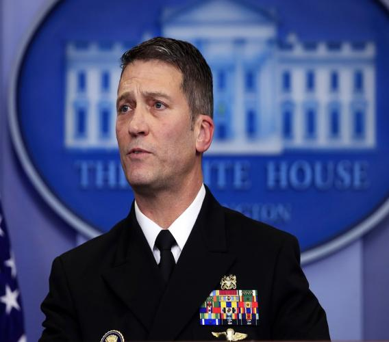 White House doctor Ronny Jackson speaks to reporters on 16 January