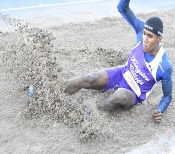 Gold medal favourite Wayne Pinnock of Kingston College is the top qualifier from Tuesday's preliminary round of the Boys' Class 1 long jump, heading into the final at the 2018 ISSA/GraceKennedy Boys and Girls' Athletics Championships at the National Stadium.