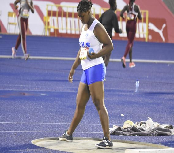 Danielle Sloley of Immaculate Conception High in deep concentration just before her record-breaking performance in the Girls' Class 2 shot put final on Wednesday's second day of the 2018 ISSA/GraceKennedy Boys and Girls' Athletics Championships at the National Stadium.