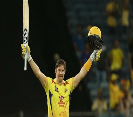Shane Watson celebrates a ton against Rajasthan Royals.