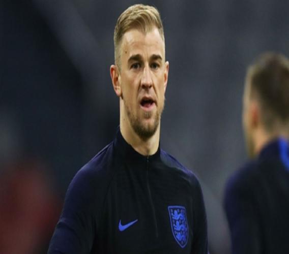 Joe Hart training with England.