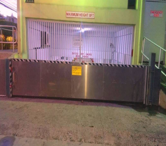 Photo: A flood gate constructed by Flood Barrier Systems for a company in Barataria.