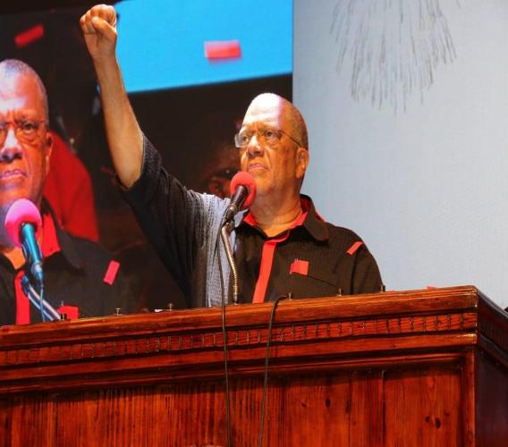 PNP president, Dr Peter Phillips addressing comrades on Sunday at the party's annual conference. (PHOTO: Llewellyn Wynter)