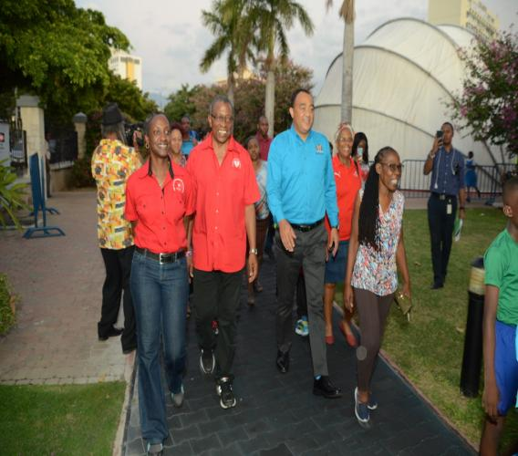 Karen Anderson (left), Senior Manager, Marketing and Fund Development - Heart Foundation of Jamaica; Winston Barrett, Vice Chairman at HFJ and Dr Christopher Tufton, Minister of Health led the ceremonial walk at the Emancipation Park to mark the official launch of the Run For Your Heart 5K/2K.