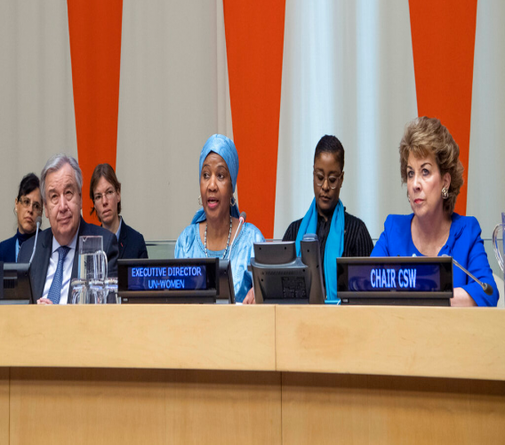 In this Friday, March 8, 2019 photo provided by the United Nations, Phumzile Mlambo-Ngcuka, third from right, executive director of UN Women, speaks at the United Nations Observance of International Women's Day at the United Nations headquarters. (Eskinder Debebe/The United Nations via AP)