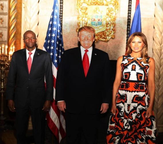 De droite à gauche, le président haïtien Jovenel Moïse, le premier couple américain Donad et Melania Trump/ Photo : Page Facebook de la Présidence haïtienne