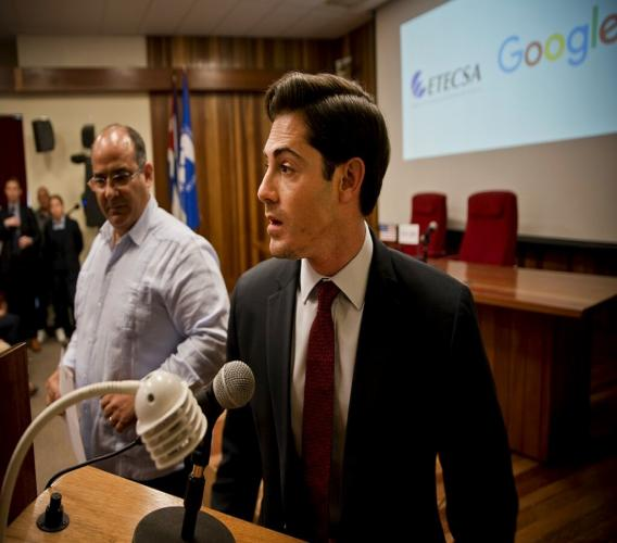 Google's head of Cuba operations, Brett Perlmutter speaks to the press accompanied by Luis Adolfo Iglesias Reyes, vice president of investments of Etecsa, in Havana, Cuba, Thursday. (AP Photo)